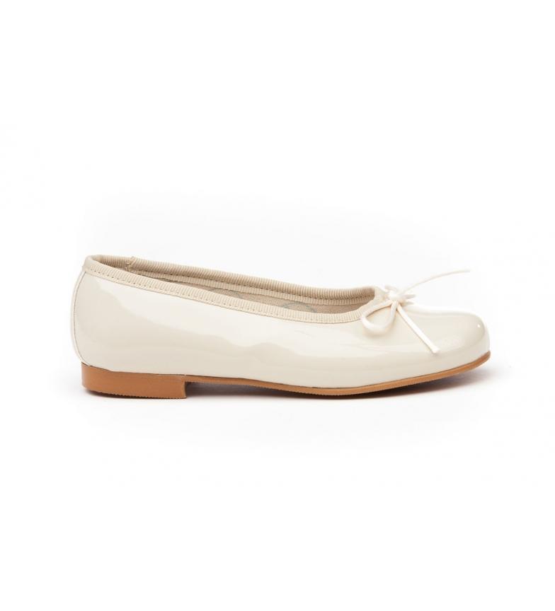 Angelitos Manoletinas/Ballerinas patent beige leather