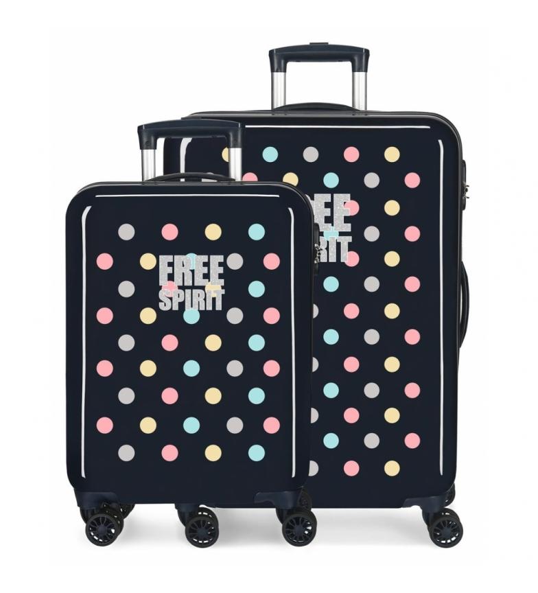 Comprar Movom Movom Free Dots Ensemble de bagages rigides bleu marine -38x55x20cm/48x68x26cm