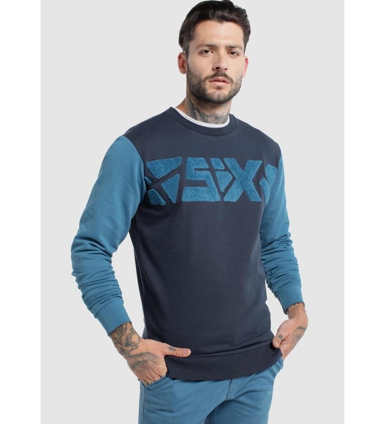 Comprar Six Valves Seis blusa de moletom azul bicolor