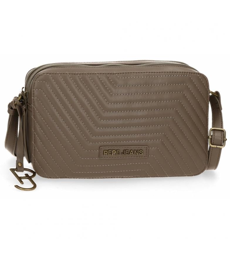 Comprar Pepe Jeans Amanda taupe double compartment shoulder bag -25x15x6,5cm