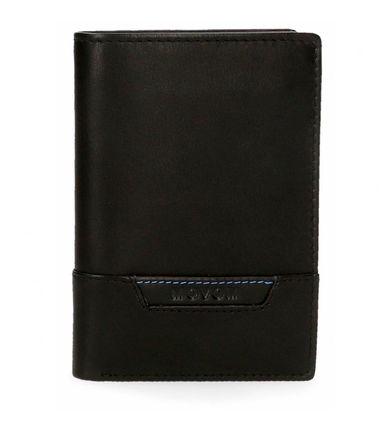 Comprar Movom Cartera de piel Highway vertical con monedero negra  -8,5x11,5x1cm-