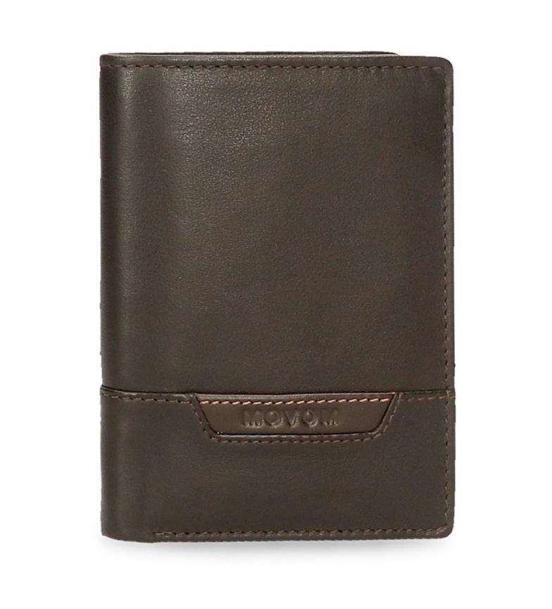 Comprar Movom Cartera de piel Highway vertical con monedero marrón -8,5x11,5x1cm-