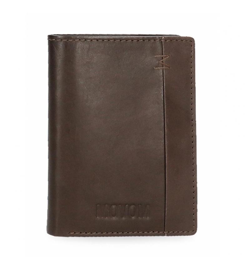 Comprar Movom Portafoglio in pelle fantasia verticale con portamonete marrone -8,5x11,5x1cm