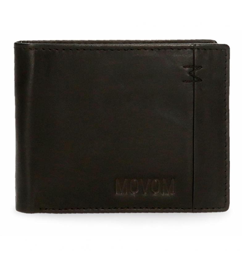 Comprar Movom Portafoglio orizzontale in pelle fantasia con portafoglio staccabile nero -11x8.5x1cm