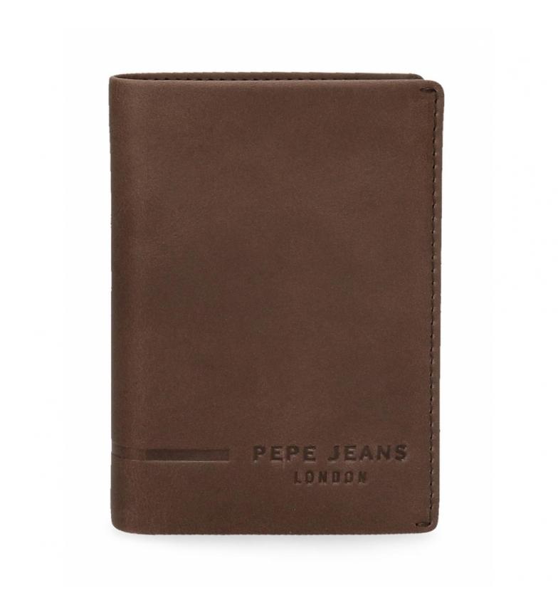 Comprar Pepe Jeans Portefeuille en cuir Pepe Jeans Ander vertical avec porte-monnaie marron -8,5x11,5x1cm