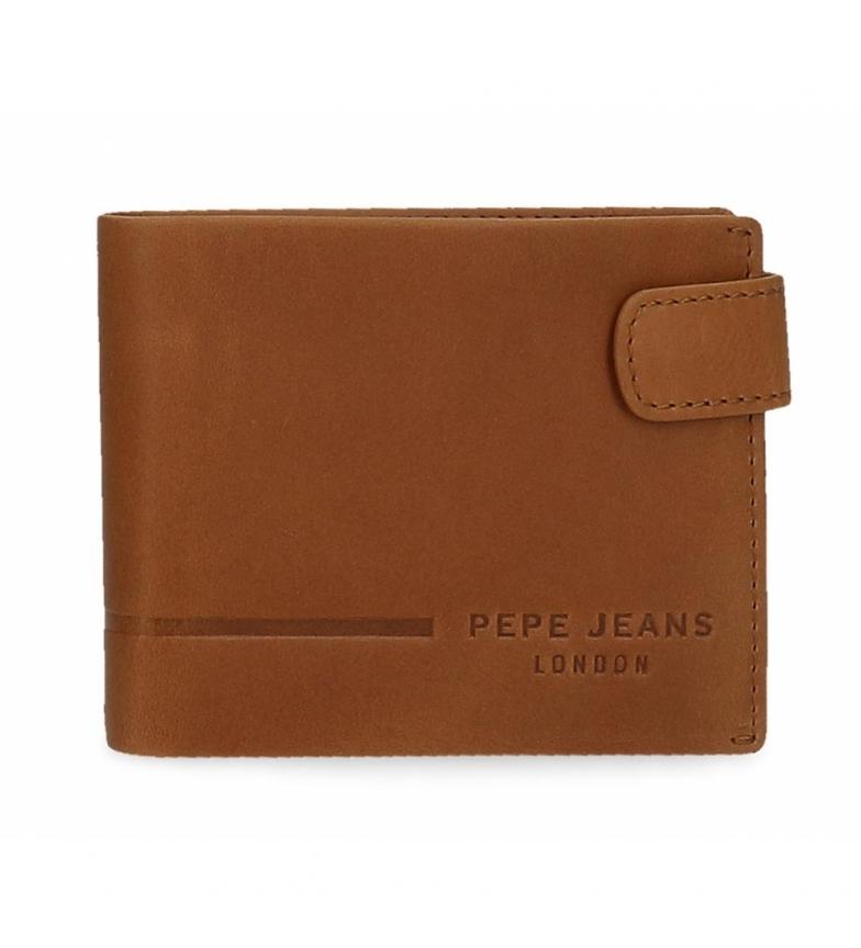 Comprar Pepe Jeans Portefeuille en cuir Pepe Jeans Ander horizontal avec fermeture à clic camel -11x8,5x1cm