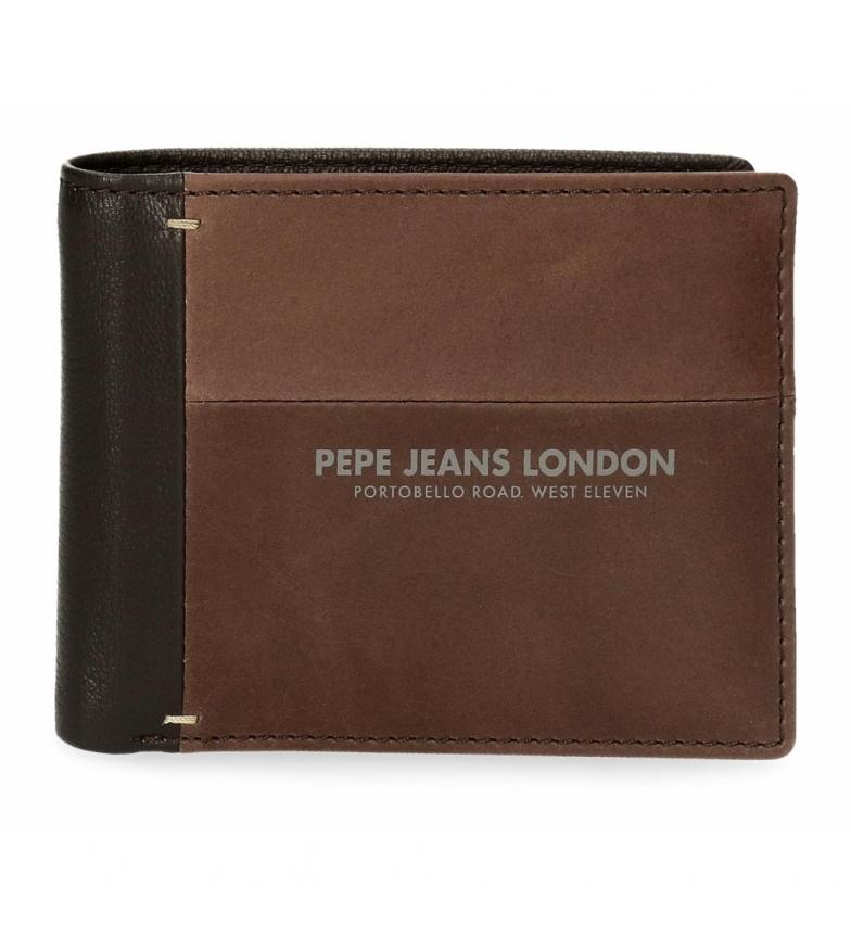 Comprar Pepe Jeans Cartera de piel Pepe Jeans Cutted con tarjetero marrón -11x8,5x1cm-