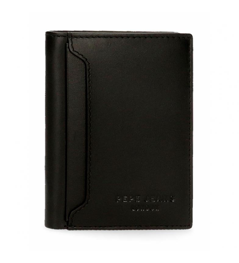 Comprar Pepe Jeans Portefeuille en cuir Pepe Jeans Dark vertical avec porte-monnaie noir -8,5x11,5x1cm