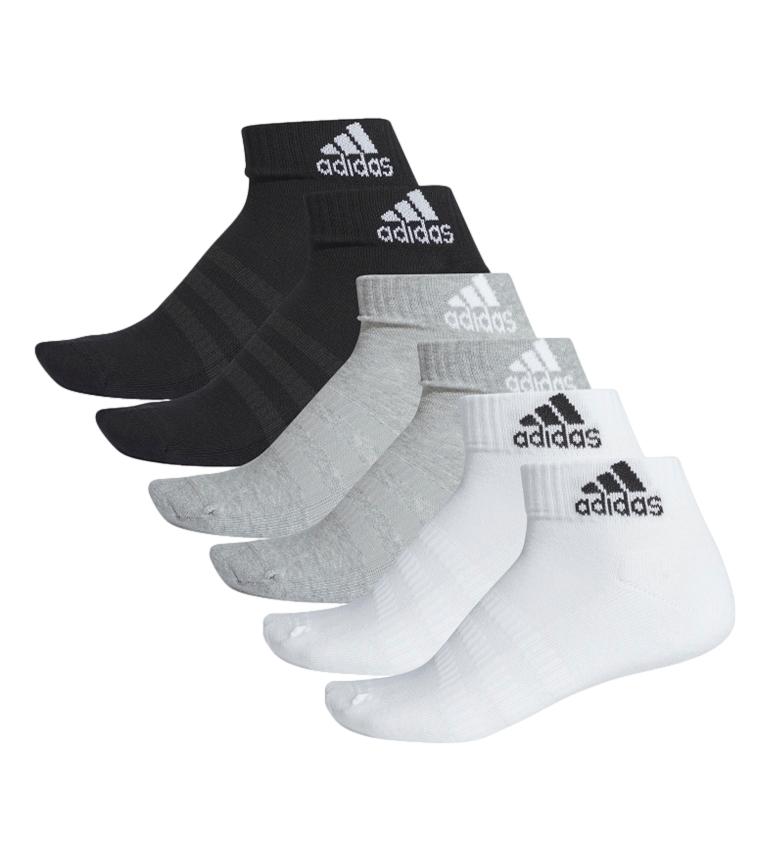 adidas Confezione da 6 calzini imbottiti Ankel neri, grigi, bianchi
