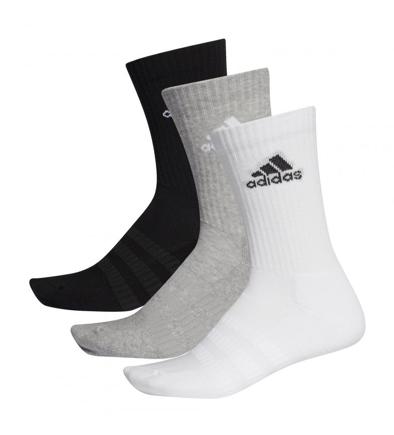 Comprar adidas Pack de 3 calcetines CUSH CRW 3PP  blanco, negro, gris