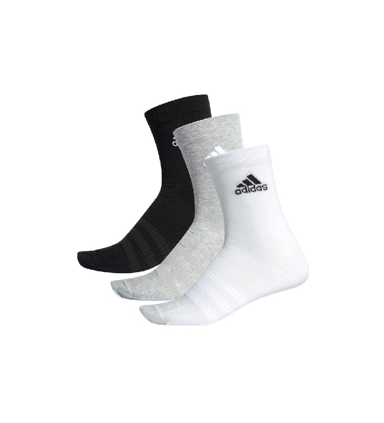 Comprar adidas Pacote de 3 meias de tripulação leve preto, cinza, branco