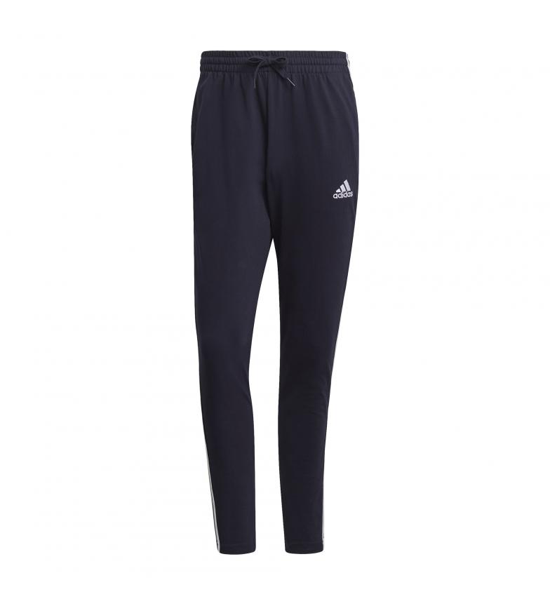 adidas Pantaloni blu navy con 3 strisce e orlo aperto affusolato Essentials