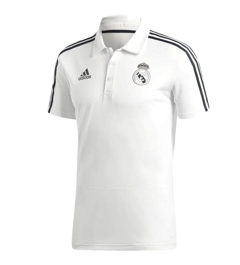 adidas-Polo-Real-Madrid-Hombre-chico-Blanco-Deportivo-Multideporte-Futbol miniatura 3