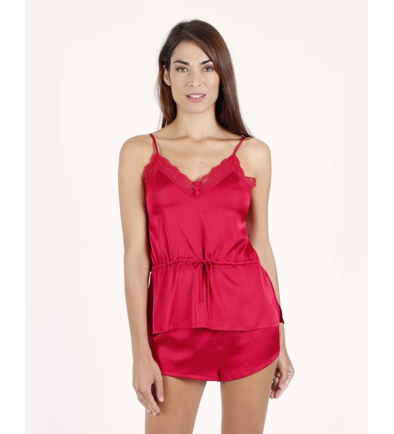 Admas Pyjamas Satin red straps