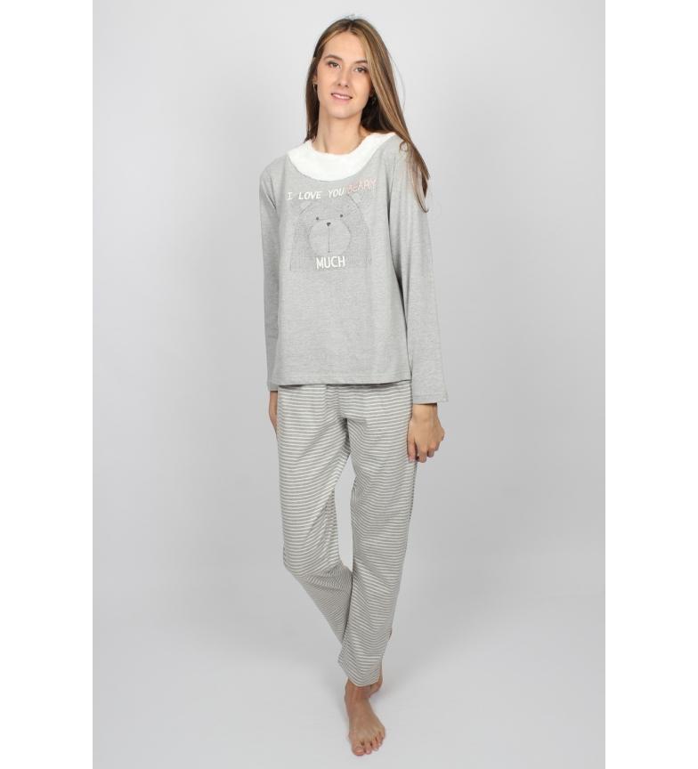 Comprar Admas Pijama Manga Larga Beary gris