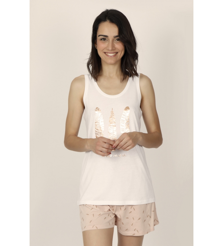 Comprar Admas Pijama Tirantes Gold Feathers blanco