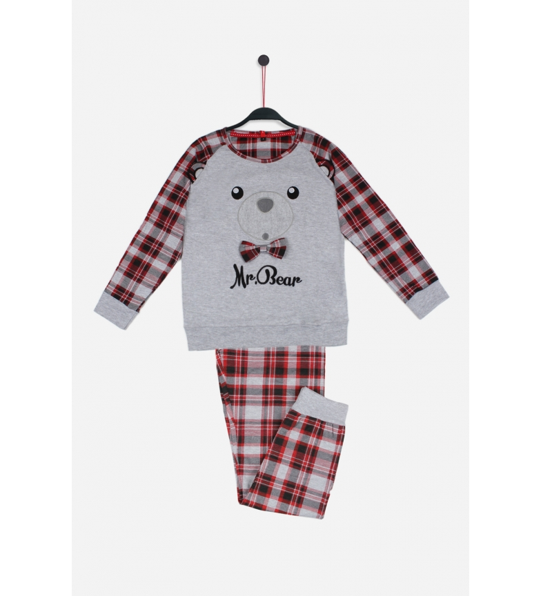 Comprar Admas Pijama de Manga Larga Tween Mr Bear gris, rojo