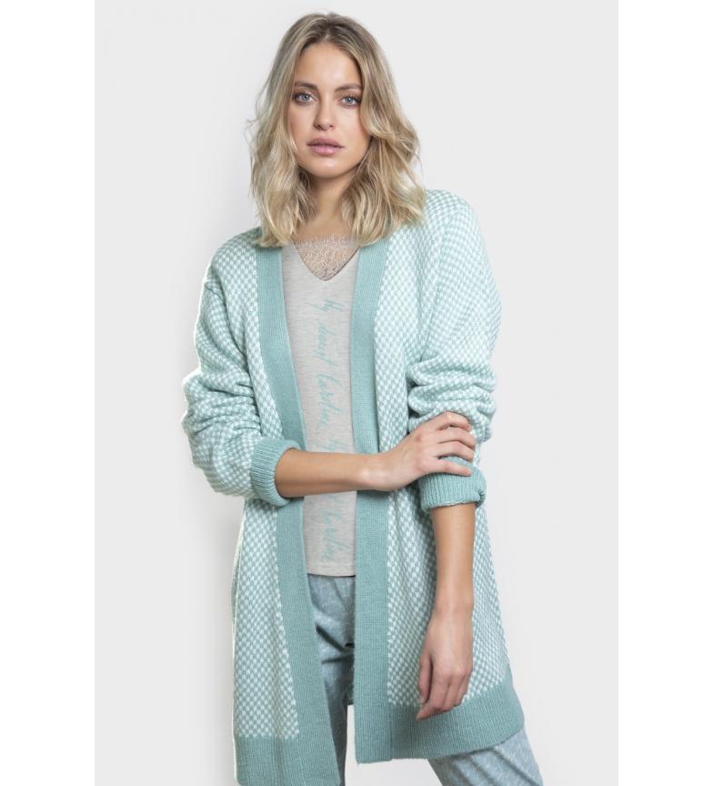Admas Dearest Caroline Long Sleeve Knitted Jacket Blue