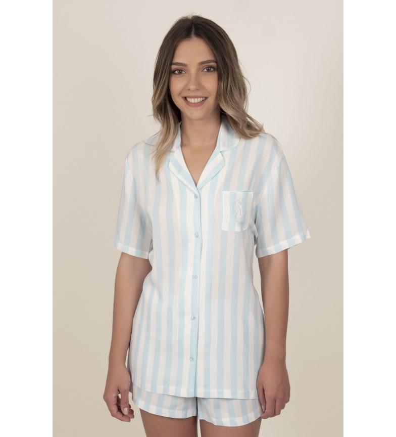 Admas Pyjama ouvert à manches courtes pour femmes, rayures classiques, bleu