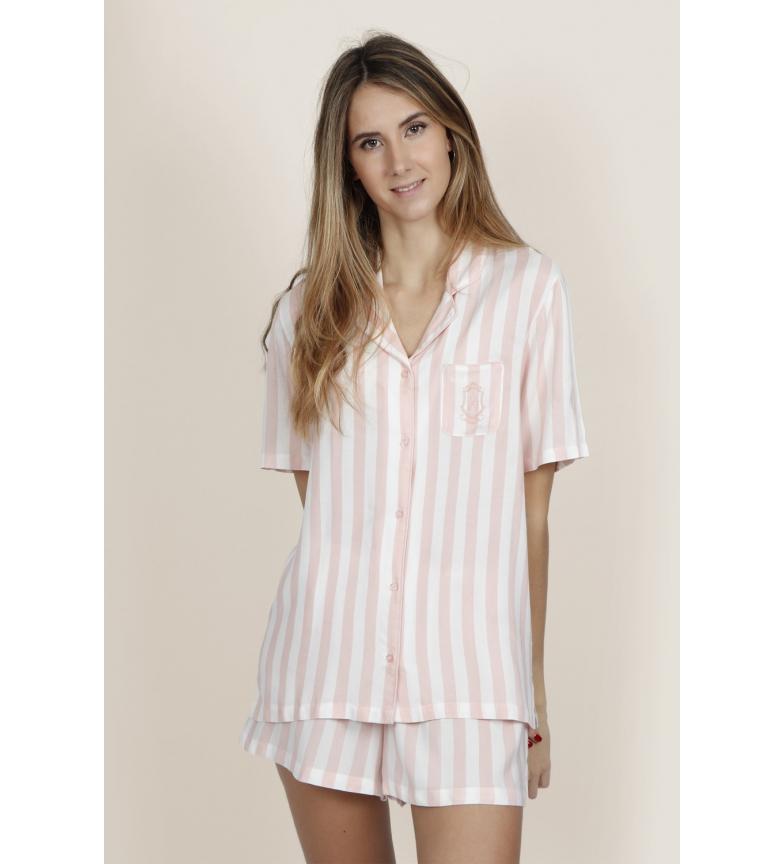 Comprar Admas Pyjama rose à rayures classiques et à manches courtes ouvertes