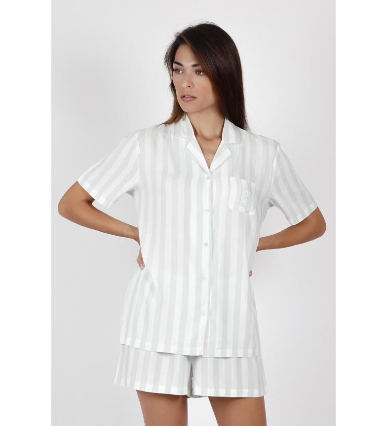 Admas Open Short Sleeve Pyjamas Classic Stripes green