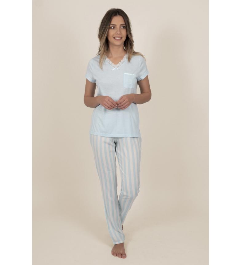 Comprar Admas Women's Classic Stripes Short Sleeve Pajamas Blue