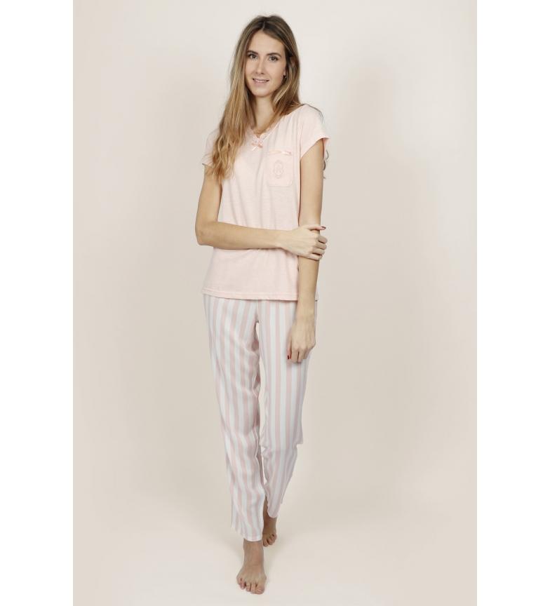 Comprar Admas Women's Classic Stripes Short Sleeve Pink Pajamas