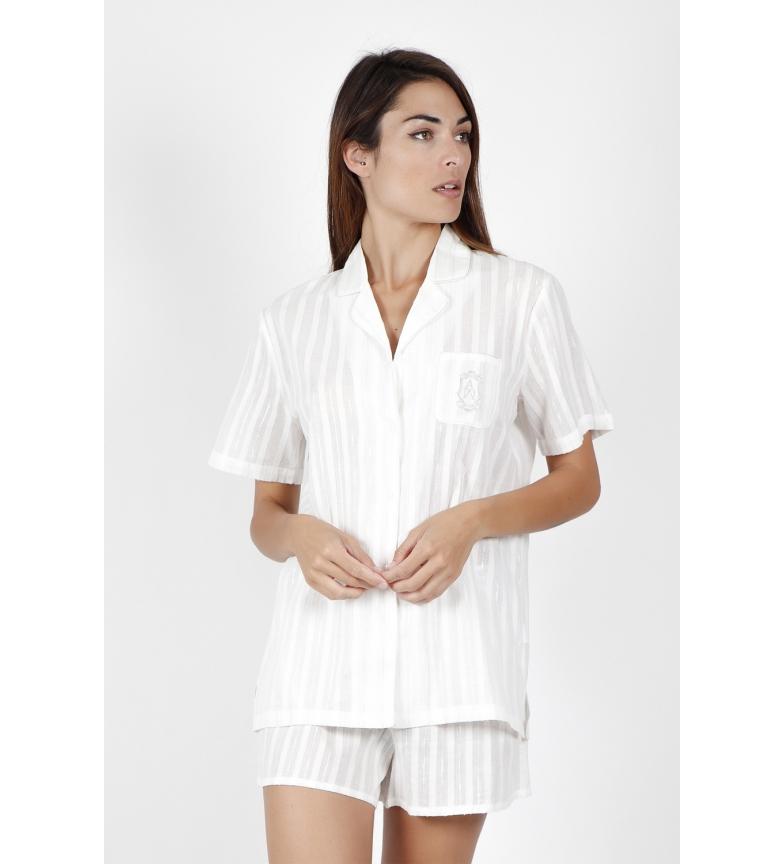Comprar Admas Pyjama à manches courtes Luxe Stripes perle douce