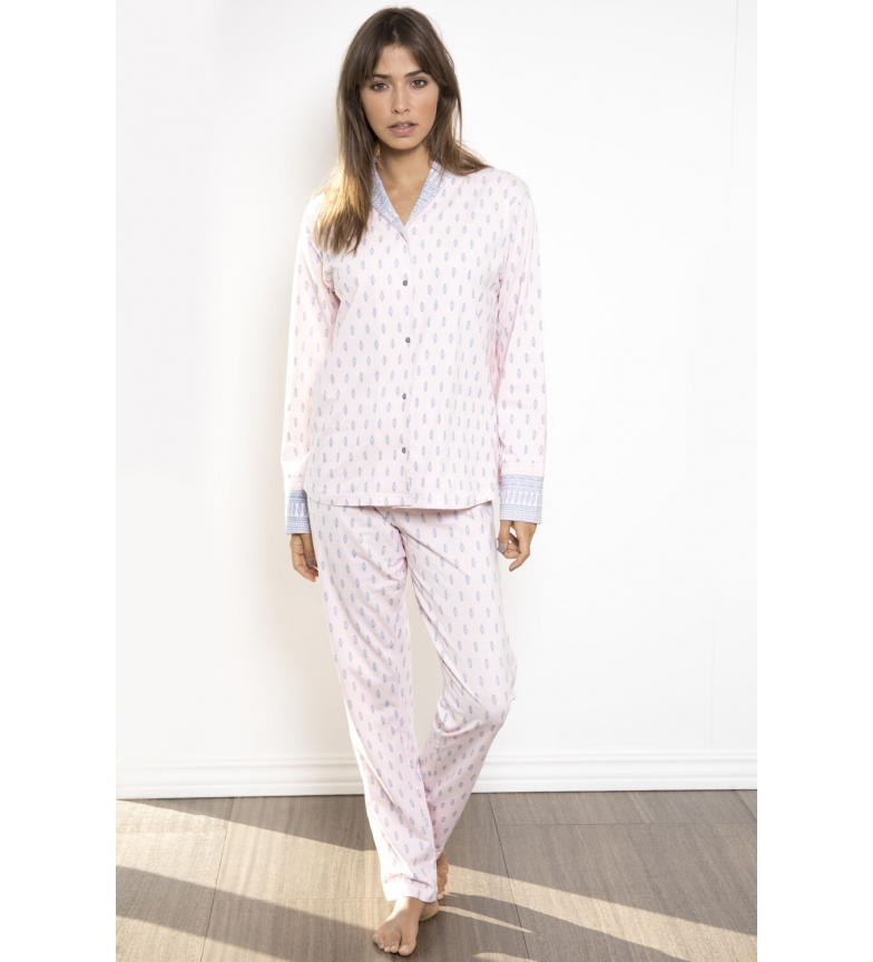 Comprar Admas Pijama Manga Larga Abierto Classic Soft Border rosa palo