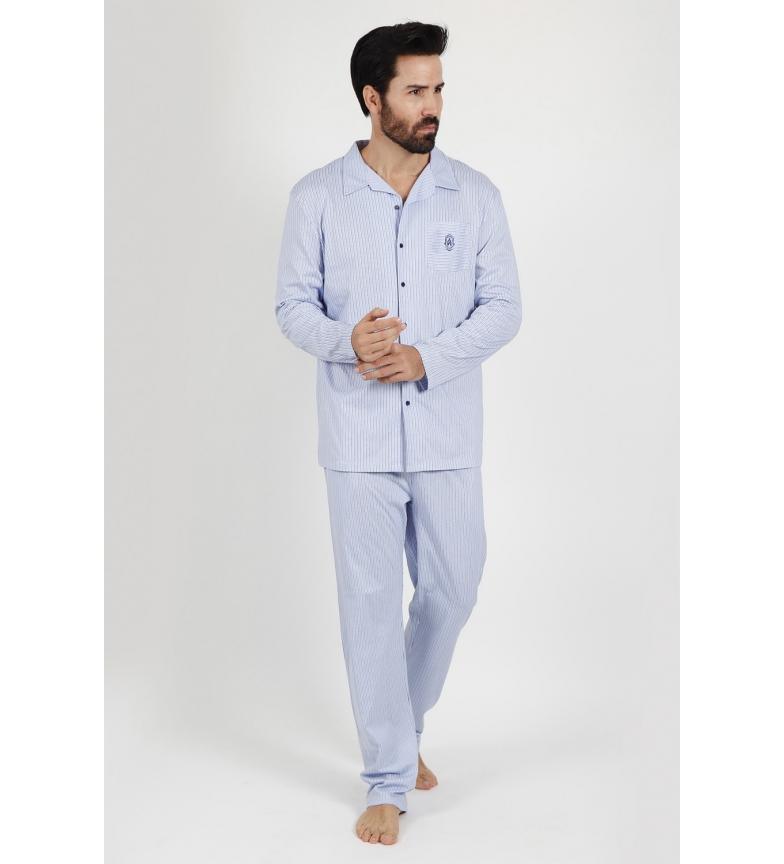 Comprar Admas Pijamas Manga Longa Fresca e Macia Marinha