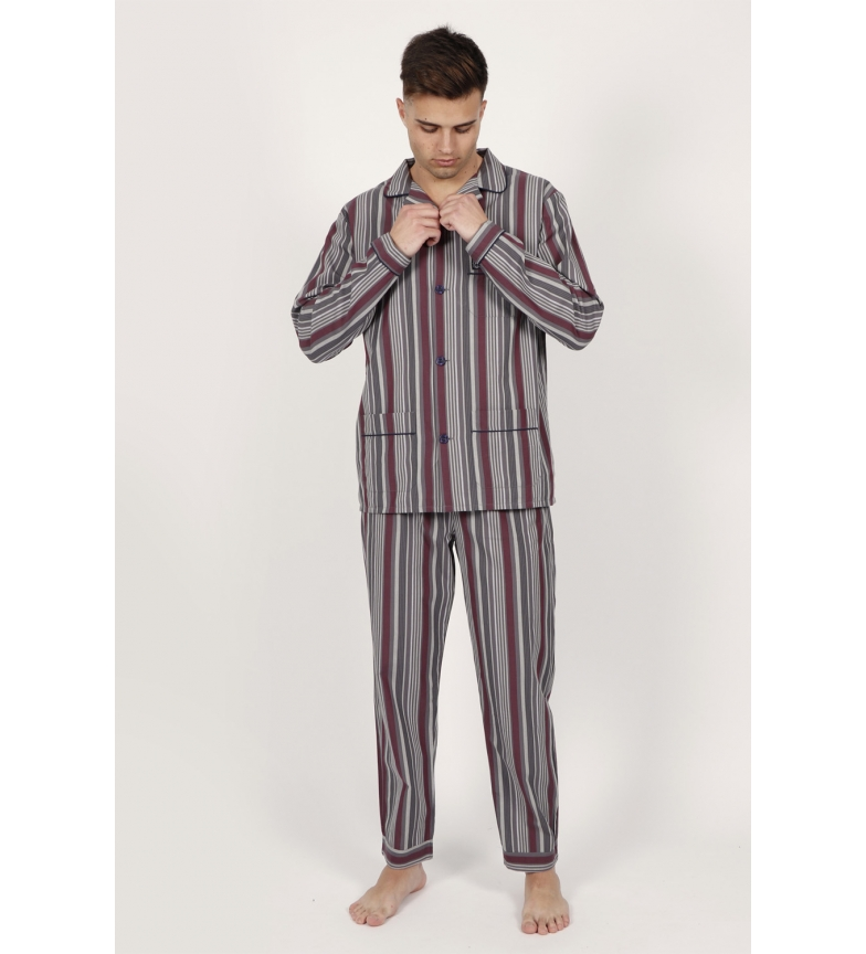 Comprar Admas Pyjama manga comprida Garnet Stripes cinza