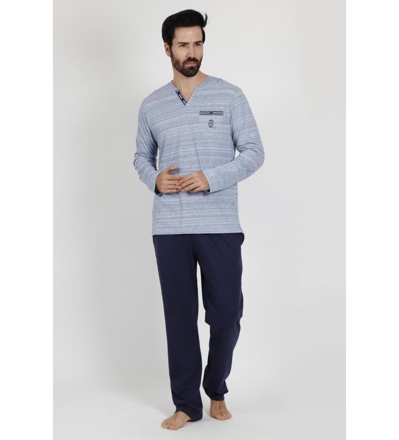 Comprar Admas Pijama manga comprida Listras luminosas azul