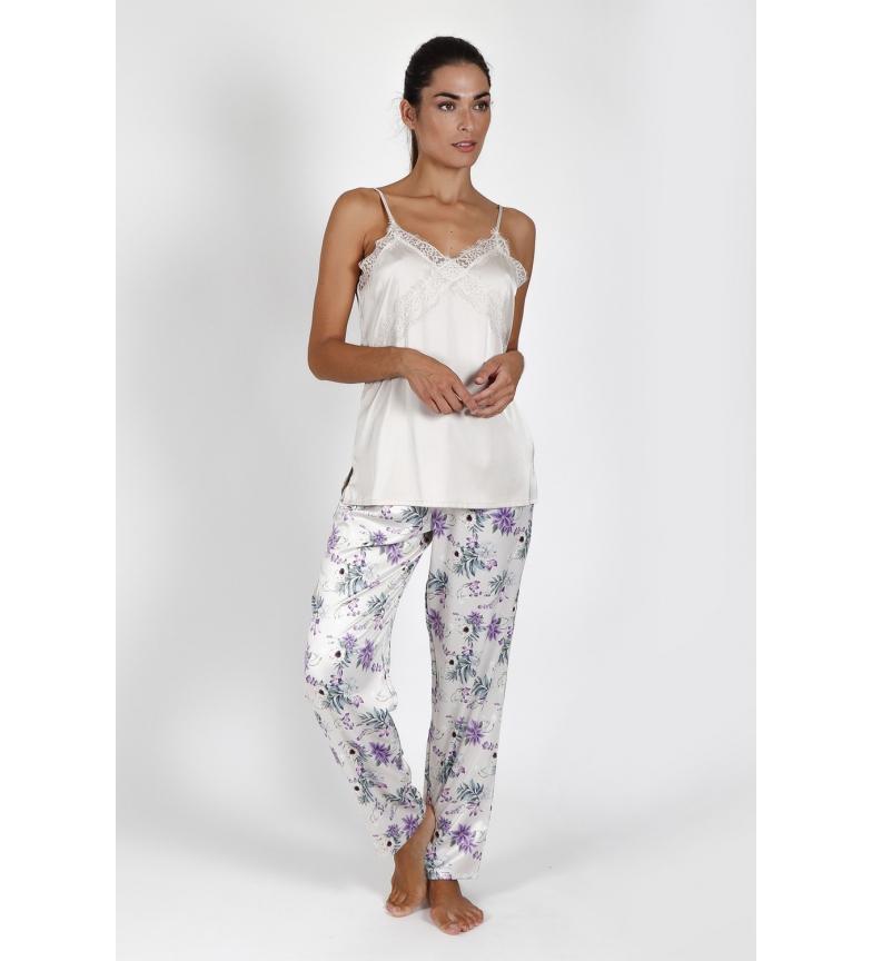 Comprar Admas Satin Romantic cream pyjamas with straps