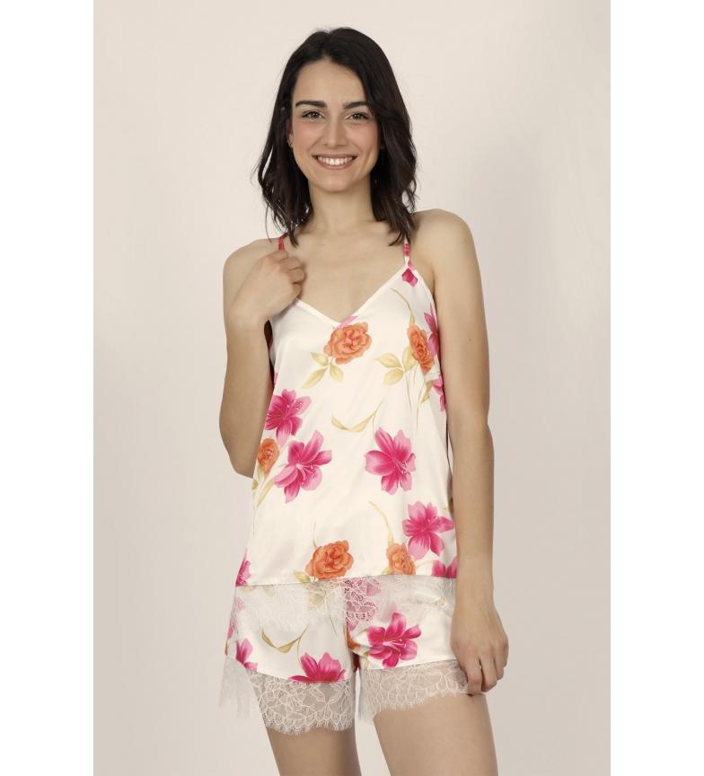 Admas Bretelles de pyjama Fleurs thaïlandaises douces pour femmes Fleurs multicolores