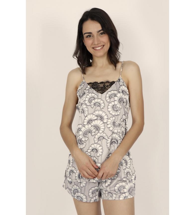 Admas Pyjama Fleurs blanches et douces Bretelles pour femmes gris