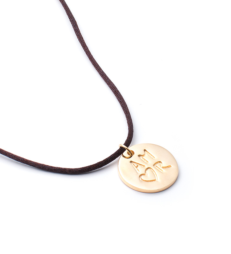 Comprar Agatha Ruiz De La Prada Satin necklace with silver medallion with gold cover Mensaje Amor