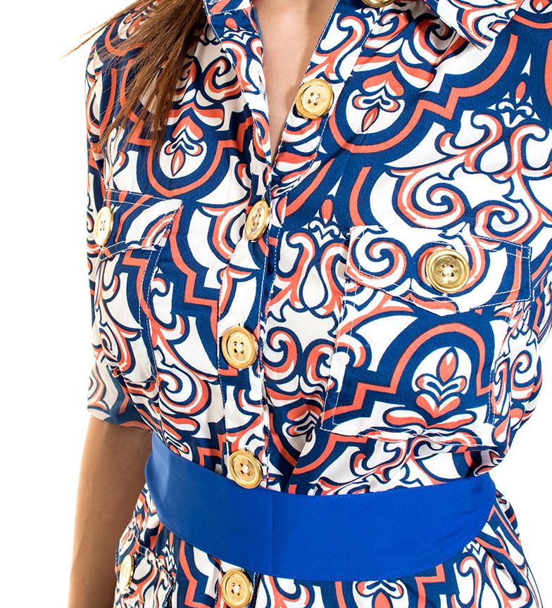 Almatrichi Vestido Leticia blanco, azul, naranja