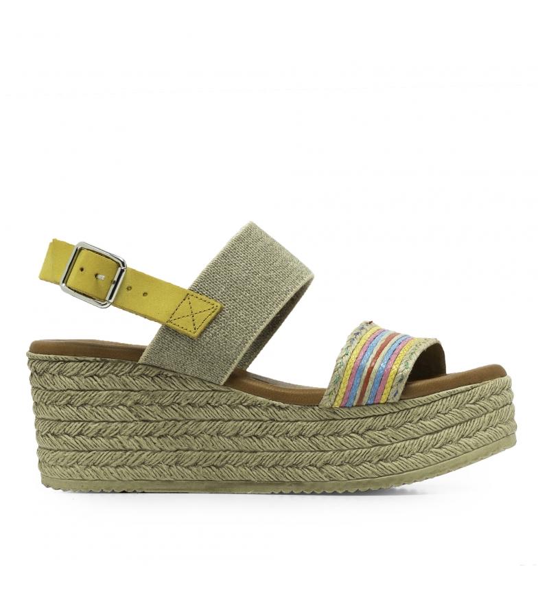 Comprar Amparo Infantes Leather sandals Am93 mustard - Wedge platform height: 6,5 cm