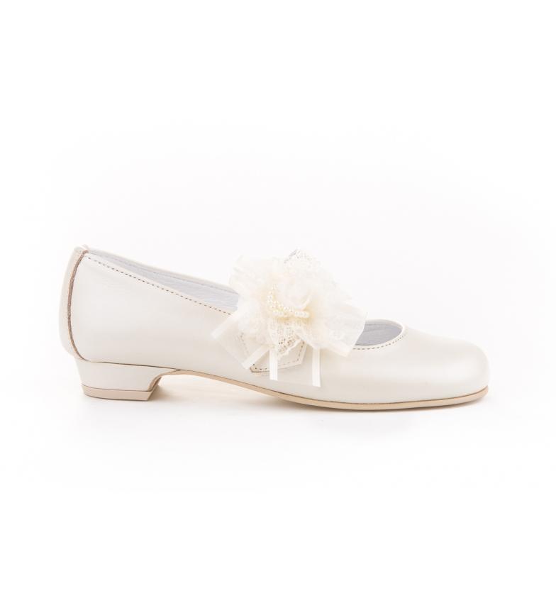 Angelitos Leather Ballerina Flower Tulle & Pearls Communion beige