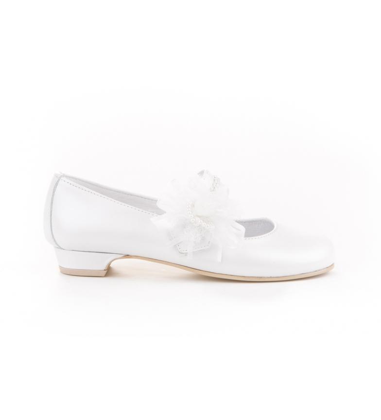 Comprar Angelitos Ballerina in pelle fiore bianco per comunione tulle e perle