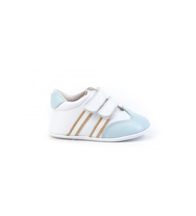 Comprar Angelitos Sapato de pele branca desportiva para bebé