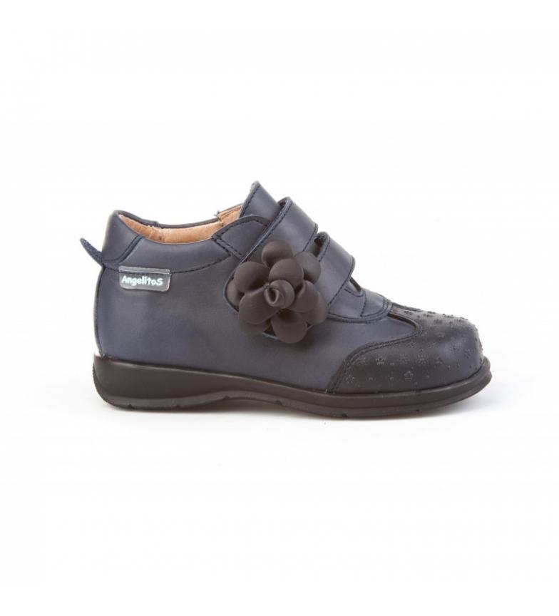 Comprar Angelitos Bottes sport en cuir Velcro fleur marine