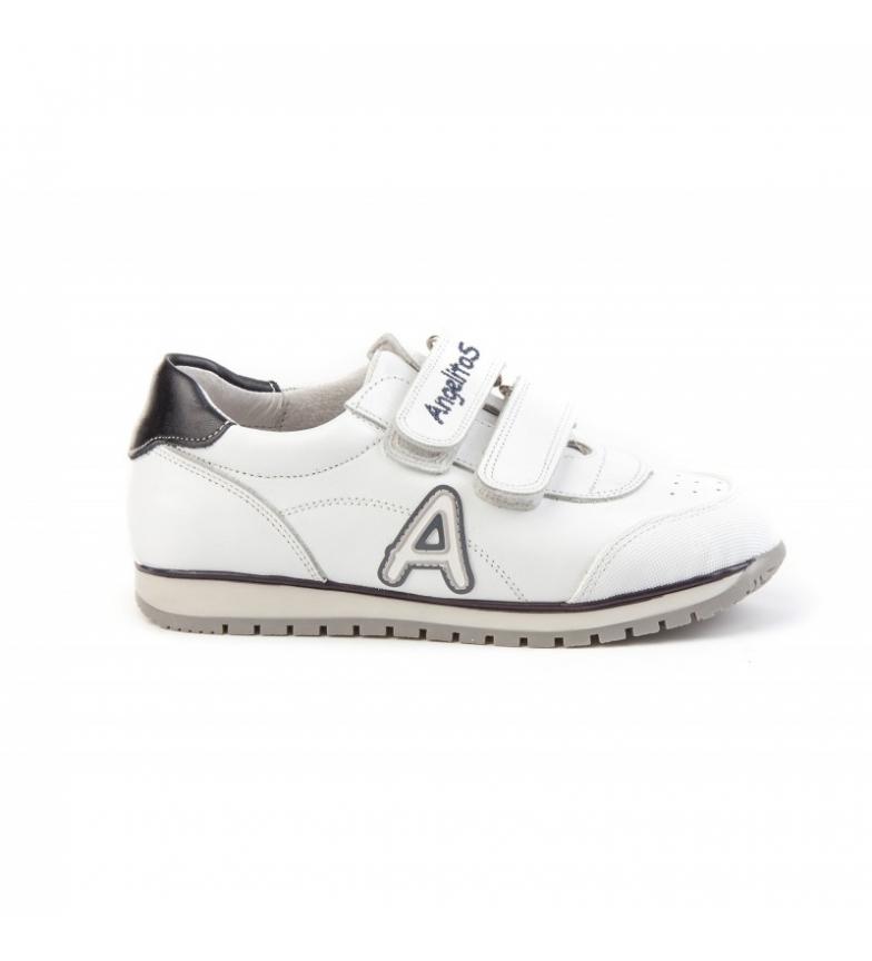 Comprar Angelitos School leather sneakers white, marine