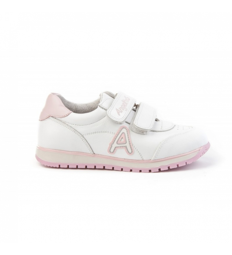 Comprar Angelitos Baskets d'école en cuir blanc, rose