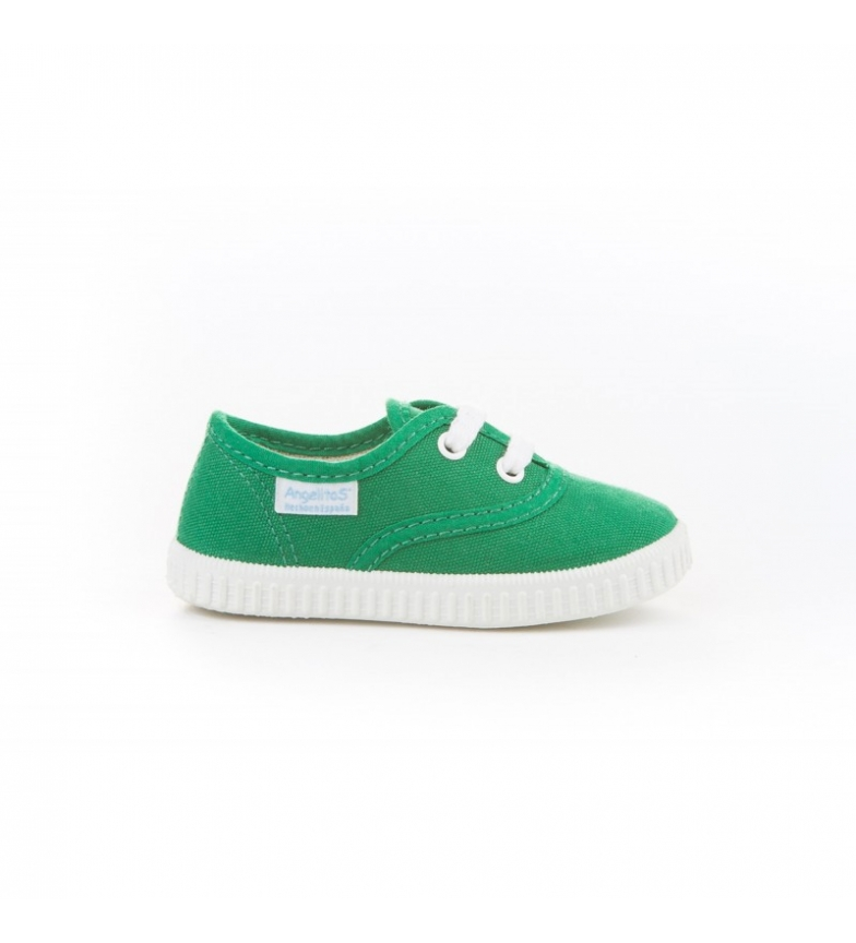 Comprar Angelitos Green canvas English slippers