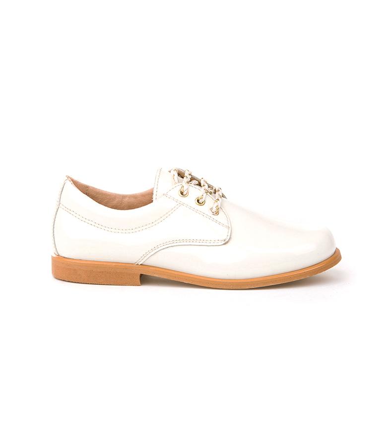 Comprar Angelitos Sapatos Blucher de Couro com Patente Bege