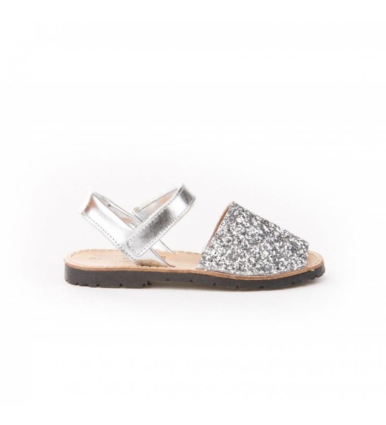 Comprar Angelitos Avarcas of leather velcro silver