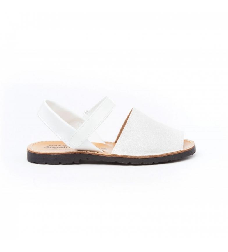 Comprar Angelitos Avarcasde in pelle con velcro glitter bianco
