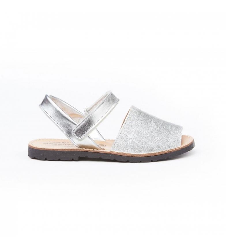 Comprar Angelitos Avarcasde couro velcro brilhante prata