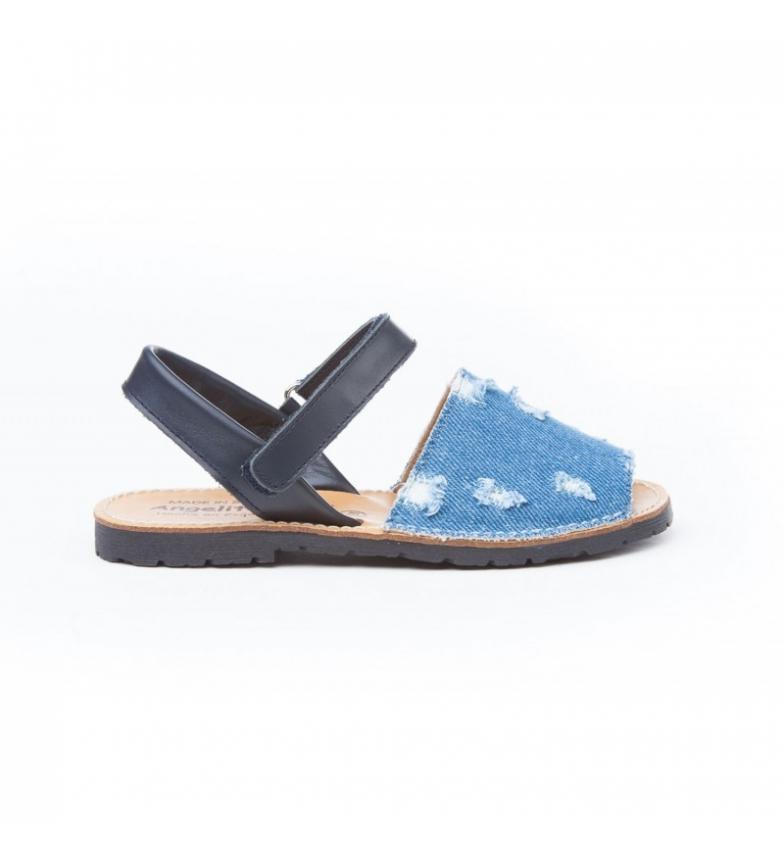 Comprar Angelitos Avarcas Velcro in pelle denim, marino